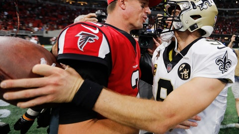 <p>               FILE - In this Sept. 23, 2018, file photo, Atlanta Falcons quarterback Matt Ryan (2) speaks with New Orleans Saints quarterback Drew Brees (9) after overtime of an NFL football game, in Atlanta. The Saints beat the Falcons 43-37.  Th Falcons play at New Orleans on Thursday, Nov. 22. (AP Photo/David Goldman)             </p>