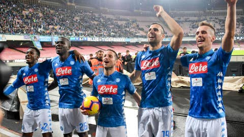 <p>               Napoli's forward Dries Mertens, center, celebrates with his teammates at the end of the Italian Serie A soccer match between Napoli and Empoli at the San Paolo stadium in Naples, Italy, Friday, Nov. 2,  2018. Mertens scored three goals in Napoli 5 - 1 victory. (Ciro Fusco/ANSA via AP)             </p>