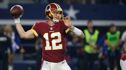 <p>               Washington Redskins quarterback Colt McCoy (12) throws against the Dallas Cowboys during the first half of an NFL football game in Arlington, Texas, Thursday, Nov. 22, 2018. (AP Photo/Ron Jenkins)             </p>