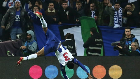 <p>               Porto defender Eder Militao celebrates after scoring the opening goal during the Champions League group D soccer match between FC Porto and FC Schalke 04 at the Dragao stadium in Porto, Portugal, Wednesday, Nov. 28, 2018. (AP Photo/Manuel Araujo)             </p>