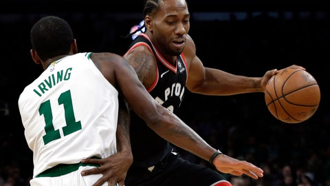 <p>               Toronto Raptors forward Kawhi Leonard drives around Boston Celtics guard Kyrie Irving (11) in the first quarter of an NBA basketball game, Friday, Nov. 16, 2018, in Boston. (AP Photo/Elise Amendola)             </p>