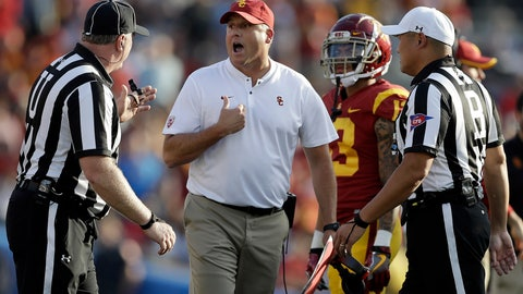 <p>               Southern California head coach Clay Helton, center, argues a call with a referee during the second half of an NCAA college football game against UCLA, Saturday, Nov. 17, 2018, in Pasadena, Calif. (AP Photo/Marcio Jose Sanchez)             </p>