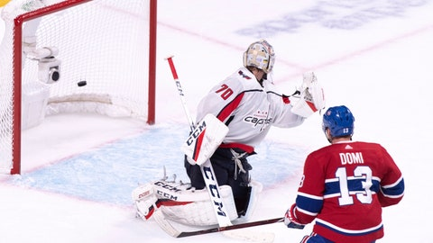 <p>               Montreal Canadiens' Max Domi scores past Washington Capitals goaltender Braden Holtby during third period NHL hockey action in Montreal on Thursday, Nov. 1, 2018. (Paul Chiasson/The Canadian Press via AP)             </p>