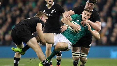 <p>               Ireland's Garry Ringrose is stopped in his tracks as he attacks during the rugby union international between Ireland and the New Zealand All Blacks in Dublin, Ireland, Saturday, Nov. 17, 2018. (AP Photo/Peter Morrison)             </p>