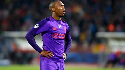 <p>               Liverpool forward Daniel Sturridge in dejection after Red Star scored a goal during the Champions League group C soccer match between Red Star and Liverpool at the Rajko Mitic stadium in Belgrade, Serbia, Tuesday, Nov. 6, 2018. (AP Photo/Marko Drobnjakovic)             </p>