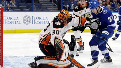 <p>               Anaheim Ducks goaltender Ryan Miller (30) makes a save on a shot by Tampa Bay Lightning center Yanni Gourde (37) during the second period of an NHL hockey game Tuesday, Nov. 27, 2018, in Tampa, Fla. (AP Photo/Chris O'Meara)             </p>