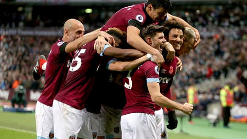 <p>               West Ham United's Felipe Anderson, right, celebrates scoring his side's third goal of the game during the English Premier League soccer match between West Ham United and Burnley at The London stadium, London. Saturday Nov. 3 2018 (Steven Paston/PA via AP)/PA via AP)             </p>