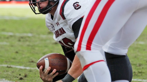 <p>               South Carolina quarterback Jake Bentley (19) is knocked to his knees as he scores on a four-yard touchdown run during the second half of an NCAA college football game against Mississippi, Saturday, Nov. 3, 2018, in Oxford, Miss. South Carolina won 44-41. (AP Photo/Rogelio V. Solis)             </p>