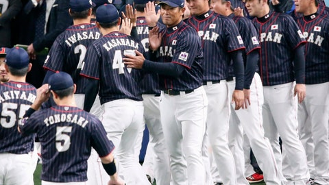 <p>               All Japan manager Atsunori Inaba, center, welcomes his players after beating MLB All-Stars 4-1 in Game 6 at their All-Stars Series baseball at Nagoya Dome in Nagoya, central Japan, Thursday, Nov. 15, 2018. Japan improved to 5-1 in the series. (Kyodo News via AP)             </p>