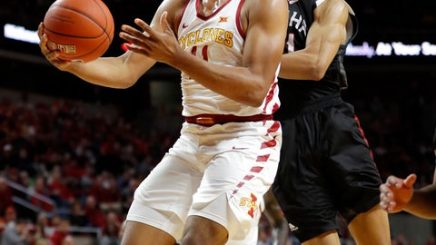 <p>               Iowa State guard Talen Horton-Tucker, left, drives to the basket past Nebraska-Omaha guard Zach Jackson, right, during the first half of an NCAA college basketball game, Monday, Nov. 26, 2018, in Ames, Iowa. (AP Photo/Charlie Neibergall)             </p>