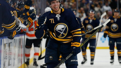 <p>               Buffalo Sabres forward Evan Rodrigues (71) celebrates his goal during the first period of an NHL hockey game against the Philadelphia Flyers, Wednesday, Nov. 21, 2018, in Buffalo N.Y. (AP Photo/Jeffrey T. Barnes)             </p>