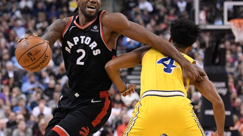 <p>               Toronto Raptors forward Kawhi Leonard (2) moves around Golden State Warriors guard Quinn Cook (4) during the first half of an NBA basketball game Thursday, Nov. 29, 2018, in Toronto. (Nathan Denette/The Canadian Press via AP)             </p>