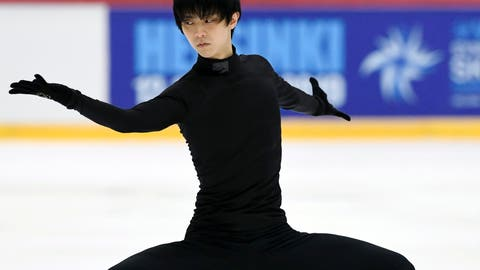 <p>               Yuzuru Hanyu of Japan skates during men's practice session at the figure skating Helsinki Grand Prix event in Helsinki, Finland, Friday Nov. 2, 2018. Men's competition will start on Saturday. (Markku Ulander/Lehtikuva via AP)             </p>