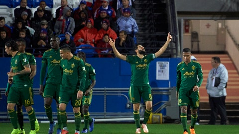 <p>               Portland Timbers midfielder Diego Valeri (8) celebrates after scoring a goal against FC Dallas during the first half of an MLS soccer playoff match in Frisco, Texas, Wednesday, Oct. 31, 2018. (AP Photo/Cooper Neill)             </p>