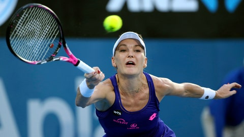 """<p>               FILE - In this Jan. 13, 2017, file photo, Agnieszka Radwanska, of Poland, plays a shot to Britain's Johanna Konta during the women's singles final at the Sydney International tennis tournament in Sydney, Australia. Radwanska says she is retiring from tennis after a 13-year career. The 29-year-old, who reached a career-high ranking of No. 2, says she is """"no longer able to train and play the way I used to."""" (AP Photo/Rick Rycroft, FIle)             </p>"""