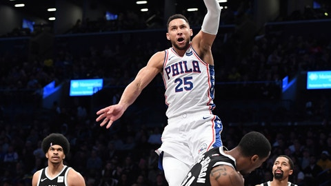 <p>               Philadelphia 76ers guard Ben Simmons (25) dunks over Brooklyn Nets forward Rondae Hollis-Jefferson (24) as Nets center Jarrett Allen (31) and guard Spencer Dinwiddie (8) look on during the first half of an NBA basketball game, Sunday, Nov. 4, 2018, in New York. (AP Photo/Kathleen Malone-Van Dyke)             </p>