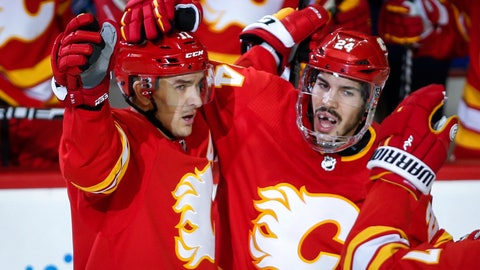 <p>               Calgary Flames' Mikael Backlund, left, of Sweden, celebrates his goal with teammate Travis Hamonic during the third period of an NHL hockey game against the Chicago Blackhawks in Calgary, Alberta, Saturday, Nov. 3, 2018. Calgary won, 5-3. (Jeff McIntosh/The Canadian Press via AP)             </p>