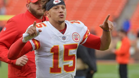 <p>               Kansas City Chiefs quarterback Patrick Mahomes smiles as he runs off the field after the team defeated the Cleveland Browns in an NFL football game, Sunday, Nov. 4, 2018, in Cleveland. (AP Photo/David Richard)             </p>