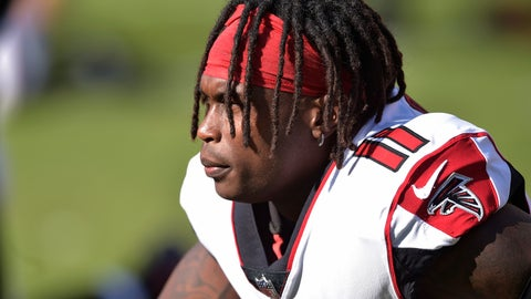<p>               FILE - In this Sunday, Nov. 11, 2018, file photo, Atlanta Falcons wide receiver Julio Jones watches warm ups before an NFL football game against the Cleveland Browns in Cleveland. Authorities say four relatives of Jones have been wounded in a shooting at an Alabama trailer park. (AP Photo/David Richard, File)             </p>