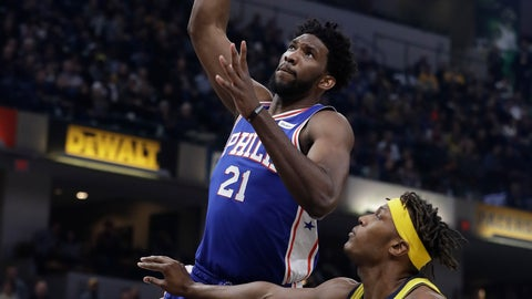 <p>               Philadelphia 76ers' Joel Embiid (21) dunks against Indiana Pacers' Myles Turner during the first half of an NBA basketball game, Wednesday, Nov. 7, 2018, in Indianapolis. (AP Photo/Darron Cummings)             </p>