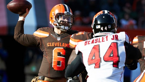 <p>               File-This photo taken Nov. 11, 2018, shows Cleveland Browns quarterback Baker Mayfield (6) passing against the Atlanta Falcons during an NFL football game in Cleveland.  The road has been cruel to the Browns, who haven't won an away game in more than three years. Cleveland hasn't come home with a victory since Oct. 11, 2015, when then-quarterback Josh McCown led the Browns to a 33-30 overtime victory in Baltimore. They've lost their last 25 straight road games and can only avoid tying the NFL record held by the Detroit Lions (2007-10) with a win on Sunday at Cincinnati. (AP Photo/Rick Osentoski, File)             </p>