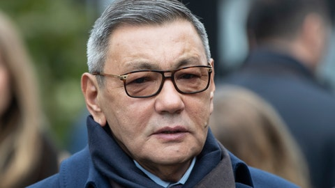 <p>               Interim President of the International Boxing Association (AIBA) Gafur Rakhimov attends a wreath laying ceremony at the Tomb of the Unknown Soldier in Moscow, Russia, Thursday, Nov.1, 2018.  With boxing's Olympic future on the line, one-time Olympic silver medalist from Kazakhstan, Serik Konakbayev, will fight to save his sport, running against Interim President Rakhimov, as candidates in the upcoming presidential vote Saturday Nov. 3, at AIBA, the amateur boxing federation. (AP Photo/Pavel Golovkin)             </p>
