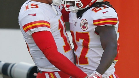 <p>               Kansas City Chiefs running back Kareem Hunt (27) celebrates with quarterback Patrick Mahomes (15) after a 50-yard touchdown during the first half of an NFL football game against the Cleveland Browns, Sunday, Nov. 4, 2018, in Cleveland. (AP Photo/Ron Schwane)             </p>