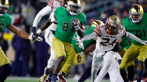 <p>               FILE - In this Saturday, Nov. 10, 2018 file photo, Notre Dame running back Dexter Williams (2) runs for a touchdown against Florida State in the second half of an NCAA college football game in South Bend, Ind. Senior Dexter Williams has been through countless ups and downs during his four years at Notre Dame. Injury, suspension, an arrest, the emotions of helping his ailing mother all of it has weighed down Williams at times. He has emerged just the same as the workhorse running back for the third-ranked Fighting Irish, and a key reason Notre Dame has legitimate hopes of making the playoff.(AP Photo/Paul Sancya, File)             </p>