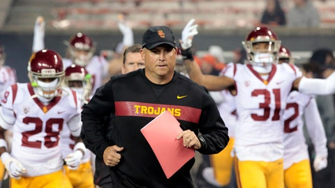 <p>               FILE - In this Nov. 3, 2018, file photo, Southern California head coach Clay Helton leads his team onto the field before an NCAA college football game in Corvallis, Ore. Helton has told his players not to worry about his job security as they head into the final two games of their 5-5 regular season. Helton realizes fans are unhappy just one season after he led the Trojans to the Pac-12 title.  (AP Photo/Timothy J. Gonzalez, File)             </p>
