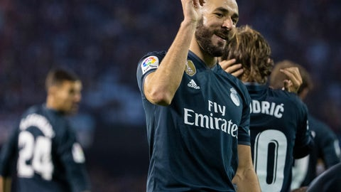<p>               Real Madrid's Karim Benzema gestures after scoring a goal during a Spanish La Liga soccer match between RC Celta and Real Madrid at the Balaidos stadium in Vigo, Spain, Sunday, November 11, 2018. (AP Photo/Lalo R. Villar)             </p>