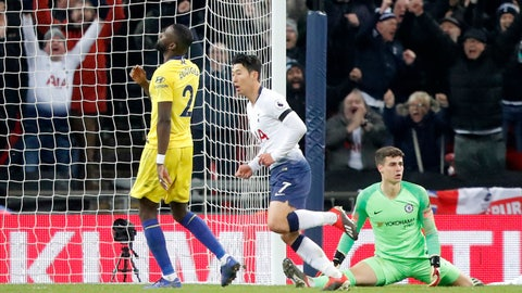 <p>               Tottenham's Son Heung-min, center, celebrates after scoring his side's third goal during the English Premier League soccer match between Tottenham Hotspur and Chelsea at Wembley Stadium in London, Saturday, Nov. 24, 2018.(AP Photo/Frank Augstein)             </p>