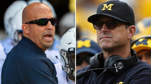 <p>               FILE - At left, in an Oct. 20, 2018, file photo, Penn State head coach James Franklin waits to lead the team onto the field before the first half of an NCAA college football game against Indiana, in Bloomington, Ind. At right, in a Sept. 22, 2018, file photo, Michigan head coach Jim Harbaugh watches in the second half of an NCAA football game against Nebraska, in Ann Arbor, Mich. No. 14 Penn State plays at No. 5 Michigan on Saturday. (AP Photo/File)             </p>