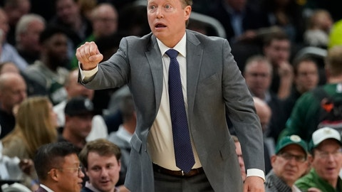 <p>               Milwaukee Bucks head coach Mike Budenholzer reacts during the first half of an NBA basketball game against the Toronto Raptors Monday, Oct. 29, 2018, in Milwaukee. (AP Photo/Morry Gash)             </p>