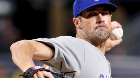 <p>               FILE- In this Aug. 17, 2018, file photo, Chicago Cubs starter Cole Hamels pitches to a Pittsburgh Pirates batter during the first inning of a baseball game in Pittsburgh. The Cubs face a decision on Hamels' option on Friday, Nov. 2,2018, as baseball teams decide whether to make $17.9 million qualifying offers to their eligible former players (AP Photo/Keith Srakocic, File)             </p>