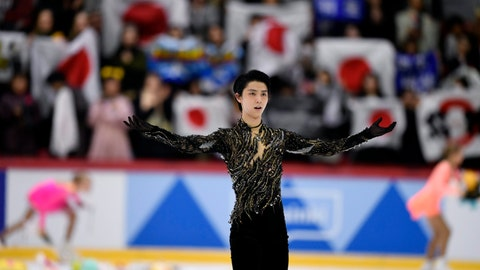 <p>               Yuzuru Hanyu of Japan reacts after his performance during the men's free skating at the figure skating ISU Helsinki Grand Prix event in Helsinki, Finland, Sunday Nov. 4, 2018. (Martti Kainulainen/Lehtikuva via AP)             </p>