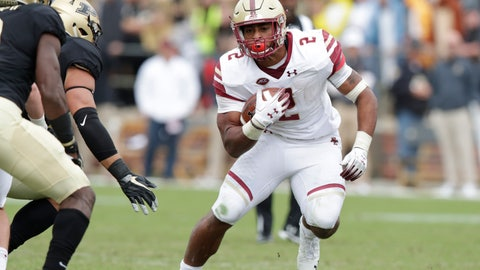 <p>               FILE - In this Sept. 22, 2018, file photo, Boston College running back AJ Dillon (2) carries against Purdue during the second half of an NCAA college football game in West Lafayette, Ind. Boston College will arrive for a game at Virginia Tech with one of the ACC's top running backs in Dillon, who averages 133.5 yards per game, to face a team that has lost essentially nine starters off last year's team and allowed 465 rushing yards--and no passing yards--when it lost 49-28 to Georgia Tech in its last outing. (AP Photo/Michael Conroy, File)             </p>