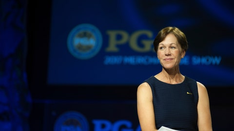 <p>               In this Jan. 26, 2017 photo provided by the PGA of America, PGA of America vice president Suzy Whaley listens on the Forum Stage during the 2017 PGA Merchandise Show held at Orange County Convention Center in Orlando, Fla.  Fifteen years after becoming the first woman to qualify for a PGA event in 58 years, Whaley is expected to be elected on Friday as the first female president of the PGA of America. (Traci Edwards/PGA of America via AP)             </p>
