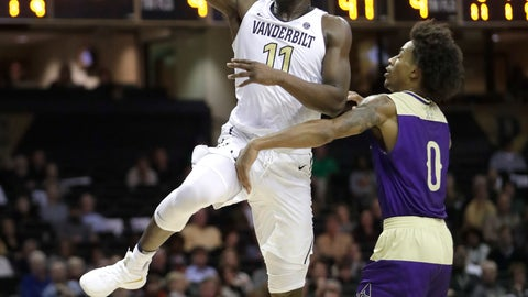 <p>               Vanderbilt forward Simisola Shittu (11) drives past Alcorn State guard Troymain Crosby (0) in the second half of an NCAA college basketball game Friday, Nov. 16, 2018, in Nashville, Tenn. Vanderbilt won 79-54. (AP Photo/Mark Humphrey)             </p>