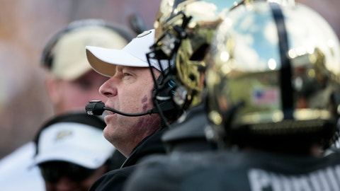 <p>               Purdue head coach Jeff Brohm talks to his team while playing against Iowa in the first half of an NCAA college football game in West Lafayette, Ind., Saturday, Nov. 3, 2018. (AP Photo/AJ Mast)             </p>