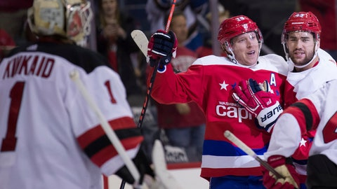 <p>               New Jersey Devils goaltender Keith Kinkaid (1) watches as Washington Capitals center Nicklas Backstrom (19), from Sweden, and right wing Tom Wilson (43) celebrate a goal by Backstrom during the first period of an NHL hockey game, Friday, Nov. 30, 2018, in Washington. (AP Photo/Alex Brandon)             </p>