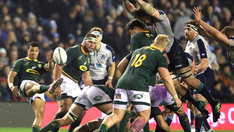 <p>               South Africa's Embrose Papier, left, kicks the ball during the rugby union international match between Scotland and South Africa at Murrayfield stadium, in Edinburgh, Scotland, Saturday, Nov. 17, 2018. (AP Photo/Scott Heppell)             </p>