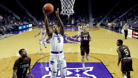 <p>               Kansas State's Barry Brown Jr. (5) gets past a group of Lehigh defenders to put up a shot during the second half of an NCAA college basketball game Saturday, Nov. 24, 2018, in Manhattan, Kan. Kansas State won 77-58. (AP Photo/Charlie Riedel)             </p>