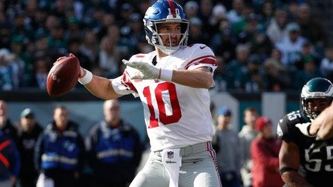 <p>               New York Giants quarterback Eli Manning prepares to throw a pass during the first half of an NFL football game against the Philadelphia Eagles, Sunday, Nov. 25, 2018, in Philadelphia. (AP Photo/Chris Szagola)             </p>