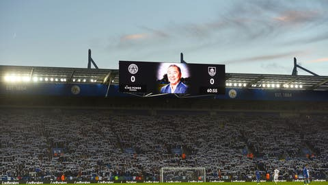 <p>               Leicester City chairman Vichai Srivaddhanaprabha who lost his life in the Leicester City helicopter crash is shown on the screens during the 60th minute of the English Premier League soccer match between Leicester City and Burnley FC at the King Power stadium, Leicester, England. Saturday Nov. 10 2018 (Joe Giddens/PA via AP)             </p>