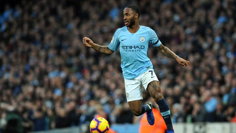 <p>               Manchester City's Raheem Sterling controls the ball during the English Premier League soccer match between Manchester City and Southampton at Etihad stadium in Manchester, England, Sunday, Nov. 4, 2018. (AP Photo/Rui Vieira)             </p>