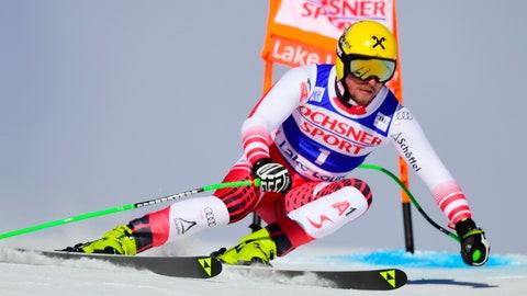 <p>               Max Franz of Austria skis down the course during the men's World Cup downhill ski race in Lake Louise, Alberta, Saturday, Nov. 24, 2018. (Frank Gunn/The Canadian Press via AP)             </p>