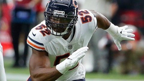 <p>               FILE - In this Sept. 23, 2018, file photo, Chicago Bears linebacker Khalil Mack (52) rushes during the first half during an NFL football game against the Arizona Cardinals in Glendale, Ariz. The Bears have a rare opportunity to beat the Detroit Lions and pick up a victory over an NFC North opponent when the two teams meet at Soldier Field on Sunday (AP Photo/Rick Scuteri, File)             </p>