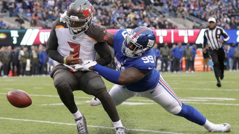 <p>               New York Giants' Mario Edwards, right, forces Tampa Bay Buccaneers quarterback Jameis Winston to fumble near the goal line during the second half of an NFL football game, Sunday, Nov. 18, 2018, in East Rutherford, N.J. (AP Photo/Julio Cortez)             </p>