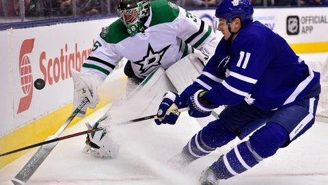 <p>               Dallas Stars goaltender Anton Khudobin (35) reaches for the puck, as does Toronto Maple Leafs left wing Zach Hyman (11) during the third period of an NHL hockey game Thursday, Nov. 1, 2018, in Toronto. (Frank Gunn/The Canadian Press via AP)             </p>