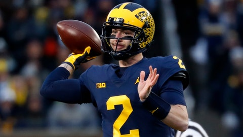 <p>               Michigan quarterback Shea Patterson (2) throws against Indiana in the first half of an NCAA college football game against Indiana in Ann Arbor, Mich., Saturday, Nov. 17, 2018. (AP Photo/Paul Sancya)             </p>